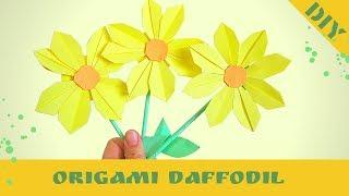 3d origami. How to make 3d origami daffodil flower. Hand Made