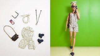 How To Make Barbie Miniature Clothes DIY Doll Outfits, Headband, Shoes, Necklace