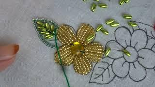 beaded hand embroidery, beads work,beads flower stitch