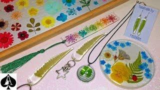 Epoxy Resin Projects using Dried Flowers & Leaves   Pendants   Coaster   Earrings   Bookmark + More