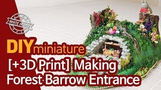 DIY Miniature House Making forest cave (+3D Print) by whitehousehh 보물상자를 품은 숲속 동굴